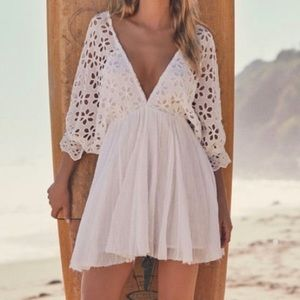 FREE PEOPLE ONE Bella Notte Eyelet dress in white!